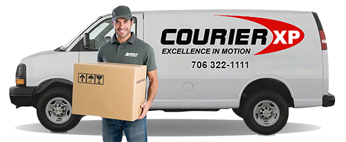 courier man in front of truck